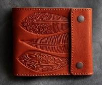 Кожаное портмоне с отделением на молнии Перья