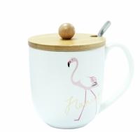 Кружка с крышкой Фламинго