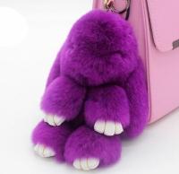 Меховой брелок на сумку Зайчик (purple)