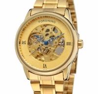 Мужские Скелетон часы Forsining Gold Edition