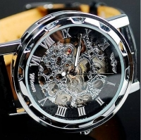 Мужские Скелетон часы Winner Black