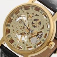 Мужские Скелетон часы Winner Gold