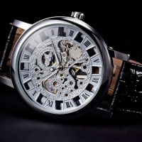 Мужские Скелетон часы Winner Silver