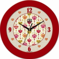 Настенные Часы Fashion Влюбленные Сердца Red