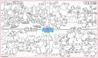 Обои раскраска Свинка Пеппа+Наклейки 60х100