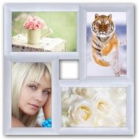 Пластиковая Мультирамка Классика на 4 фото (White)