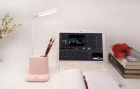 Фото Подставка для канцелярии розовая с встроенной Led лампой