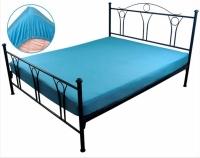 Простынь трикотажная на резинке голубая 160х200 см