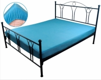 Простынь трикотажная на резинке голубая 180х200 см