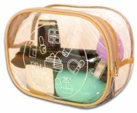 Прозрачная косметичка для путешествий круглая (бежевая)