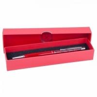 Ручка шариковая Fire Opal с кристаллами малиновая