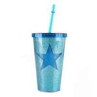 Стакан с крышкой и трубочкой Blue Star